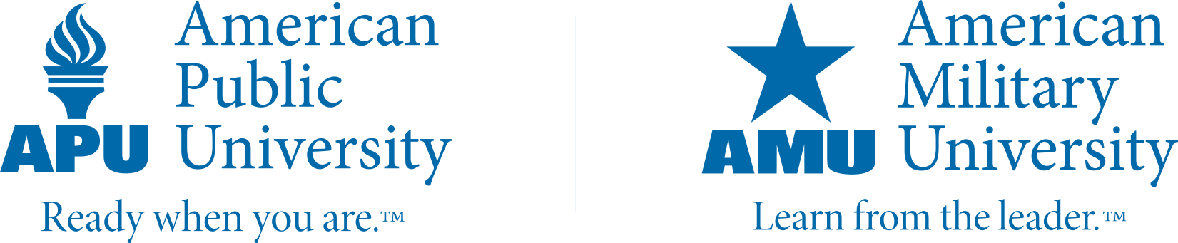 This is a blue colored image of the APUS logo, with a torch, and the AMU logo, which is a star