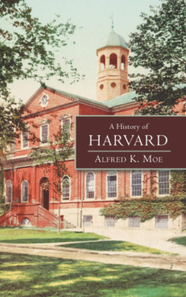 This has a photograph of a red brick building with trees along the edges of the image and the title information in a maroon box