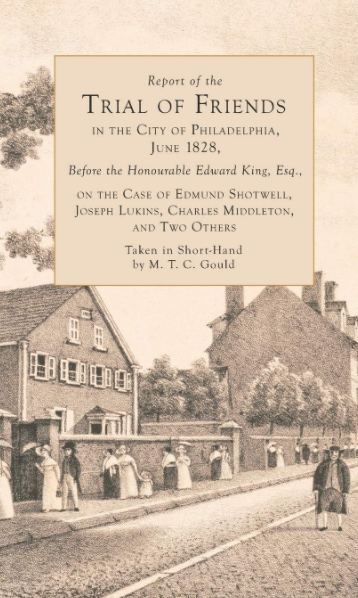 This cover is a sepia toned drawing of a street in Philadelphia featuring a variety of grouped people on the sidewalk along a road and two large buildings, with a solitary figure on the right with a cane.