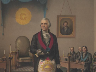 This is a colored illustration of George Washington standing in a room surrounded by various Masonic items