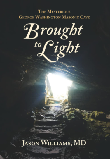This is a cover for the book Brought to Light. It features a cave mouth with steps leading out of it against a black background.